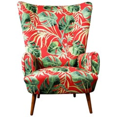 Austrian Midcentury Red and Green Floral Wingback Armchair with Walnut Legs