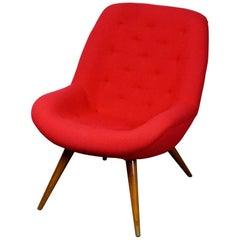 Austrian Midcentury Red Bucket Lounge or Cocktail Chair with Walnut Legs