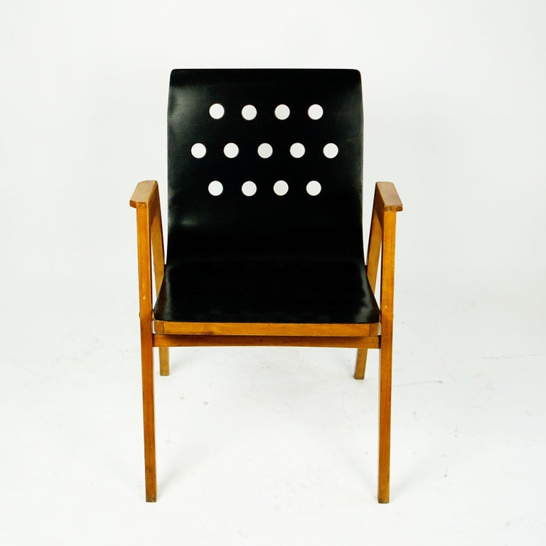 Mid-20th Century Austrian Midcentury Set of Six Roland Rainer Beech Stacking Armchairs  For Sale
