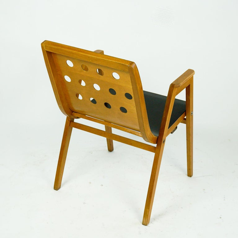 Austrian Midcentury Set of Six Roland Rainer Beech Stacking Armchairs  For Sale 4