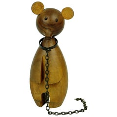 Austrian Midcentury Walnut Bear on a Chain by Werkstätte Hagenauer