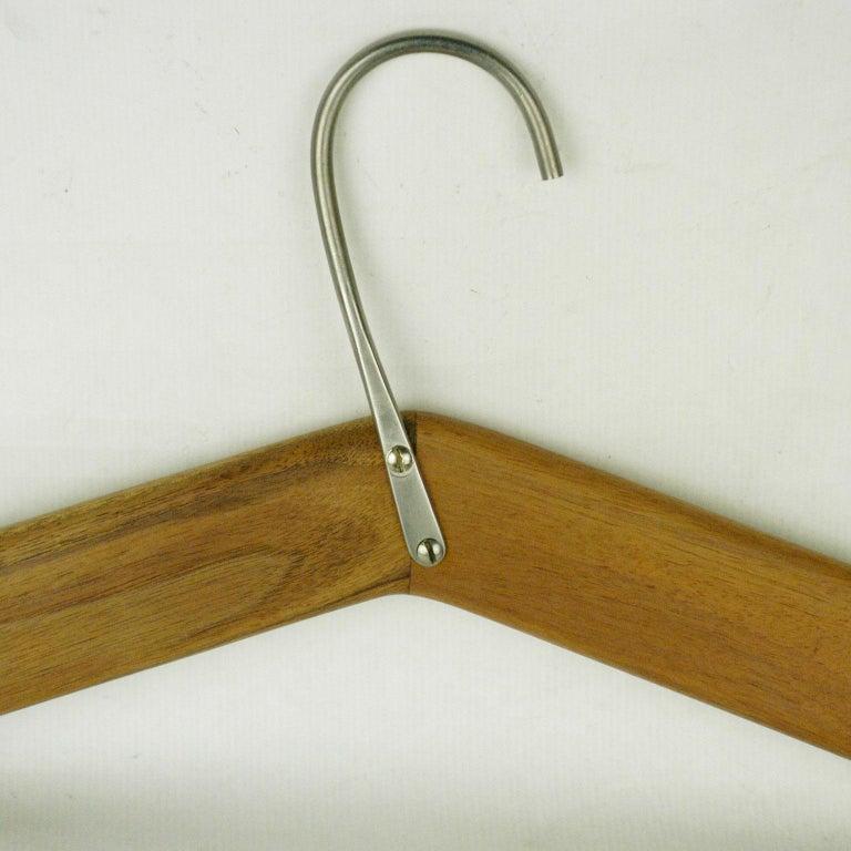 Plated Austrian Midcentury Walnut Cloth Hanger by Carl Auböck For Sale