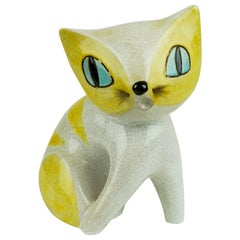 Austrian Midcentury White and Yellow Glazed Ceramic Cat by Leopold Anzengruber