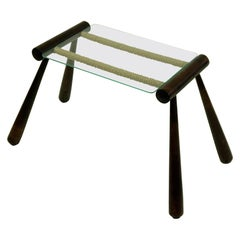 Austrian Midcentury Wooden Side Table with Cord and Glass Top by Max Kment