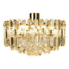 Austrian Modernist Crystal and Gilt Brass Chandelier Palazzo by J. T. Kalmar