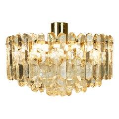 Austrian Modernist Crystal and Gilt Brass Chandelier Palazzo by J.T. Kalmar