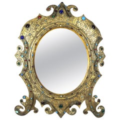 Austrian Moorish Revival Gilded Bronze Enameled and Bejeweled Oval Table Mirror