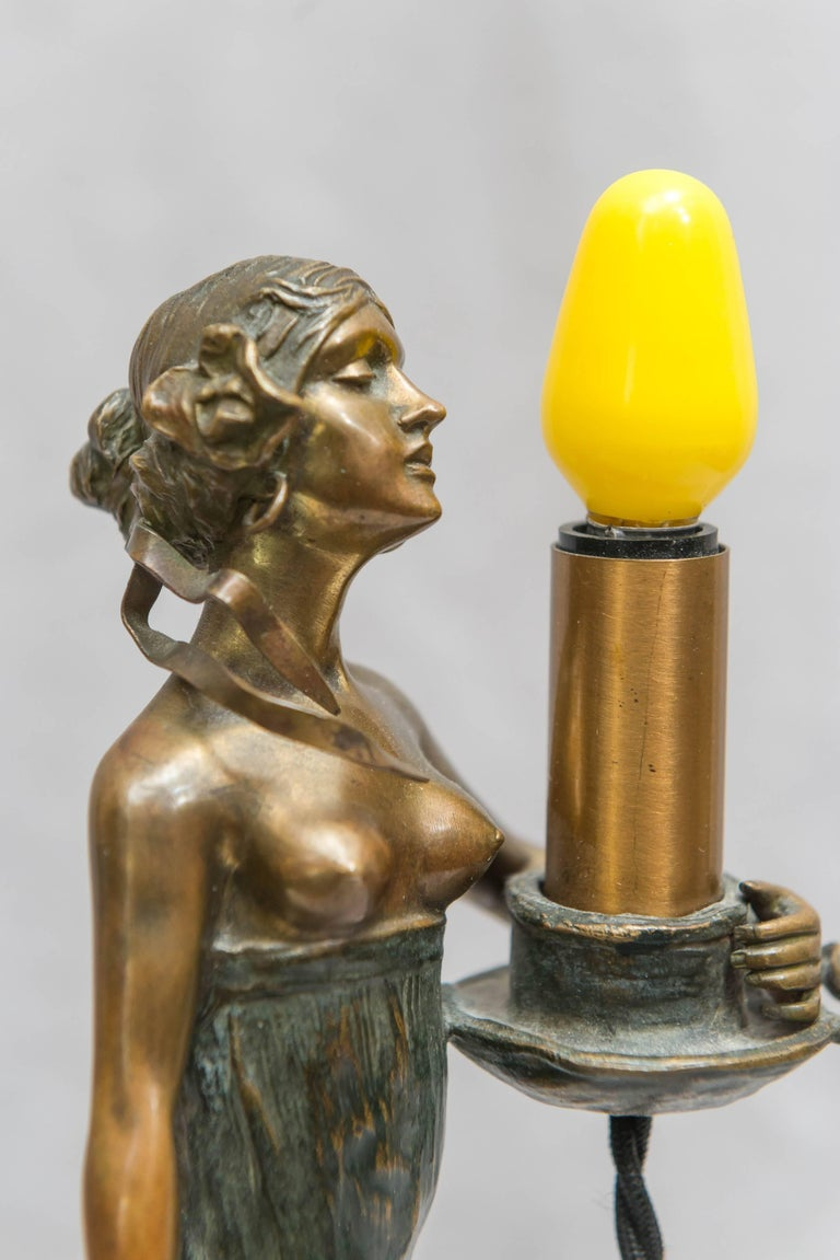 Austrian Bronze Art Nouveau Lamp, Gustav Gurschner For Sale 5