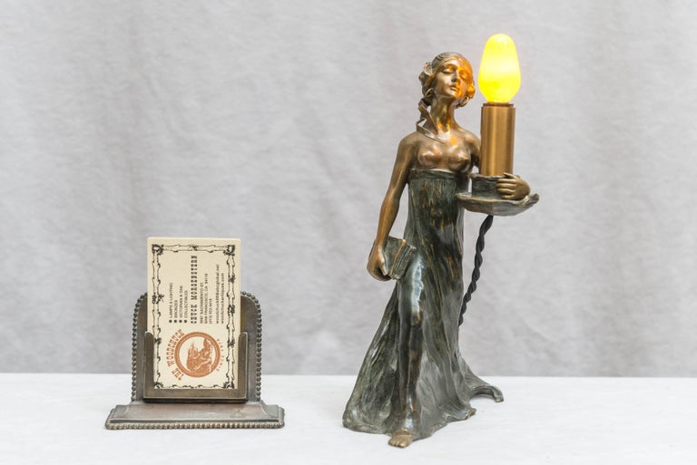 This is a very special little lamp. How do I know, I had it in my own home for many years. The quality of the casting is quite remarkable, and then it's a lamp, and it's my favorite style, Art Nouveau. It's a long story why I am selling it.  I am