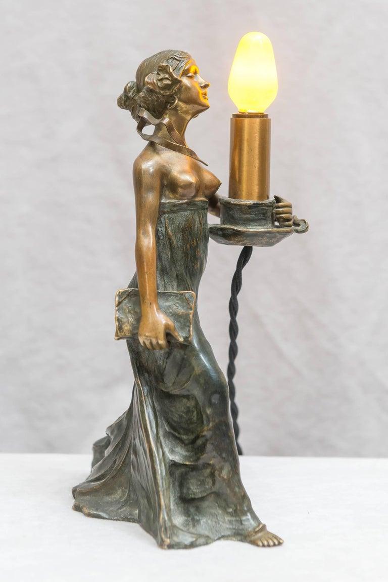 Patinated Austrian Bronze Art Nouveau Lamp, Gustav Gurschner For Sale