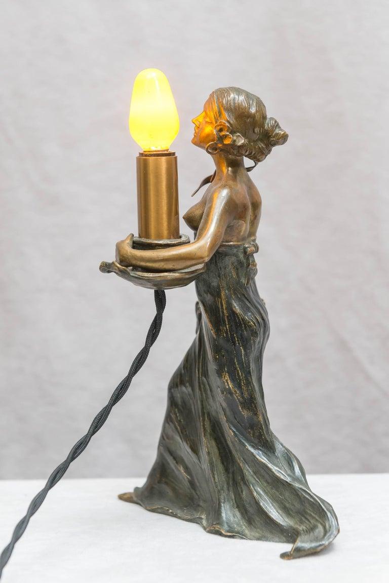 Austrian Bronze Art Nouveau Lamp, Gustav Gurschner In Excellent Condition For Sale In San Francisco, CA