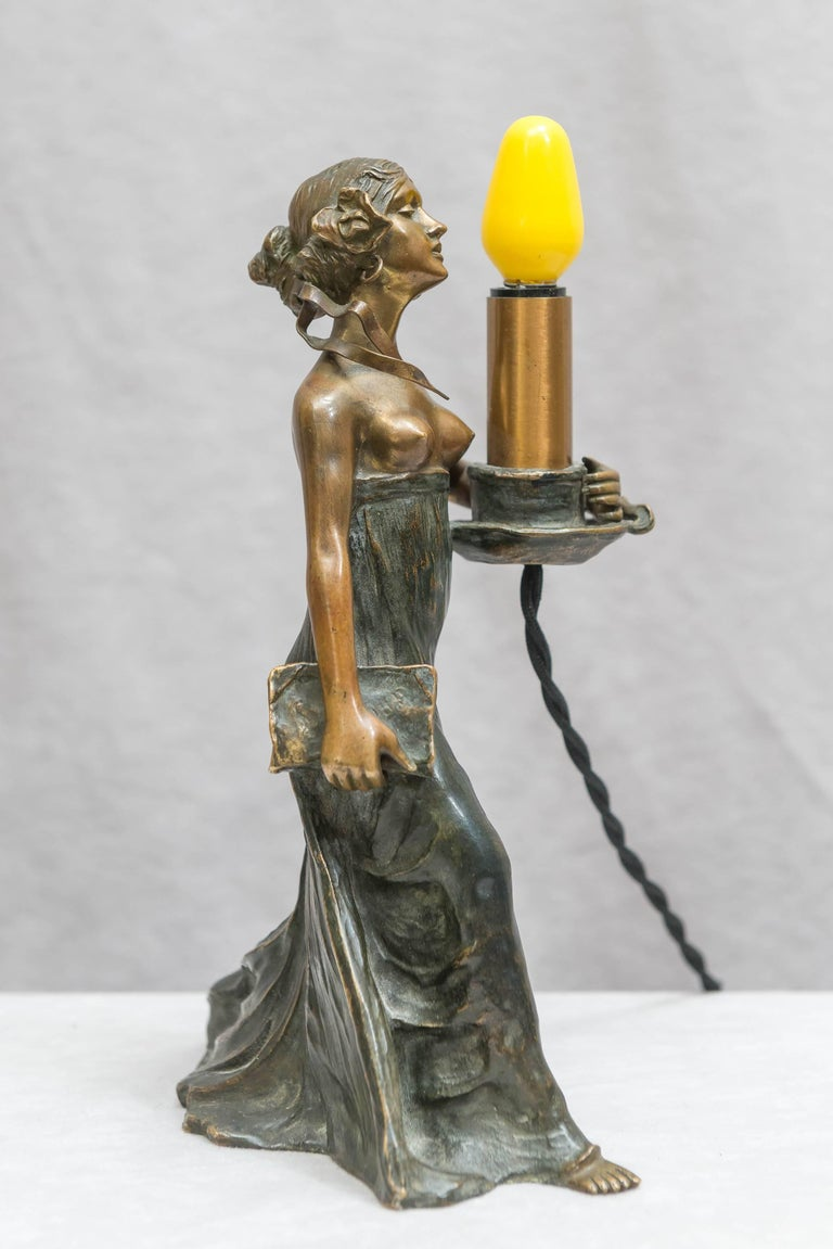 20th Century Austrian Bronze Art Nouveau Lamp, Gustav Gurschner For Sale