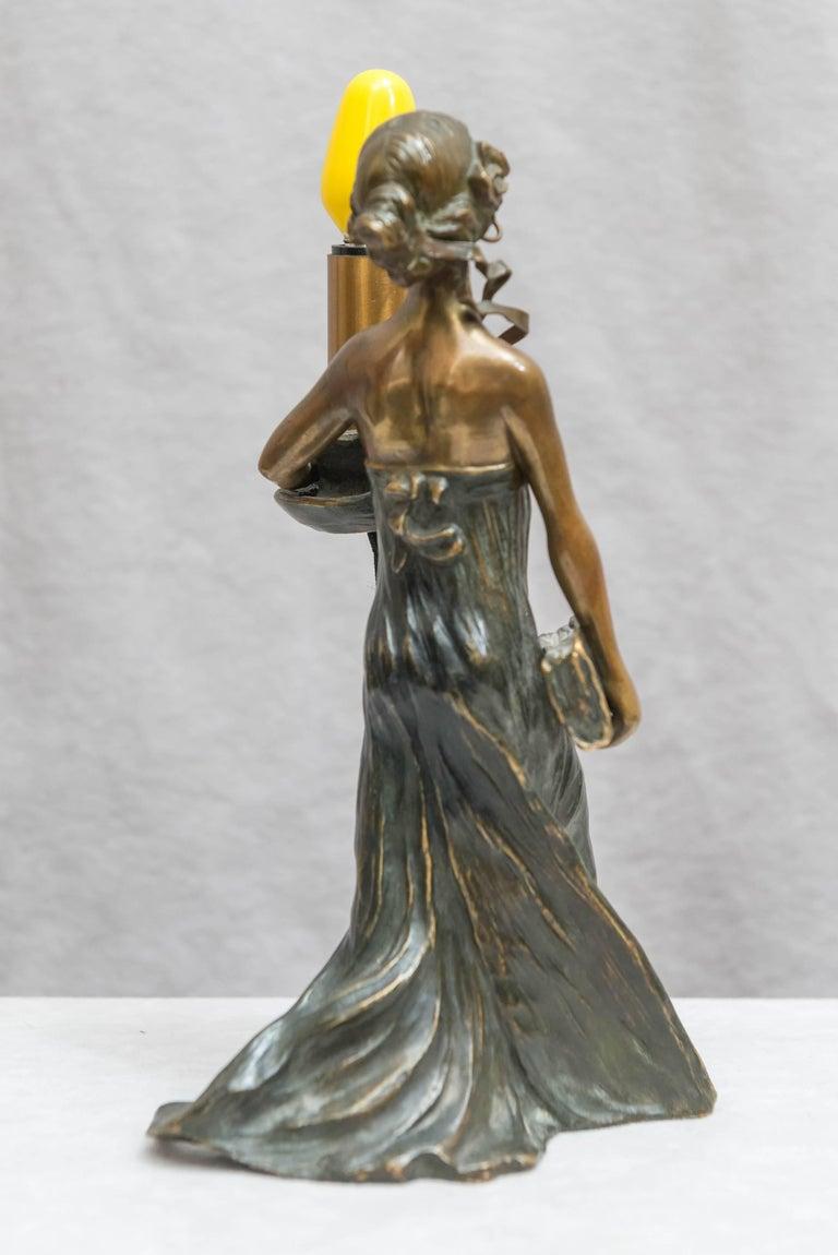 Austrian Bronze Art Nouveau Lamp, Gustav Gurschner For Sale 1