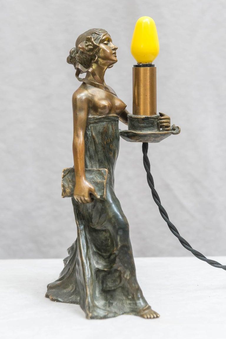 Austrian Bronze Art Nouveau Lamp, Gustav Gurschner For Sale 4