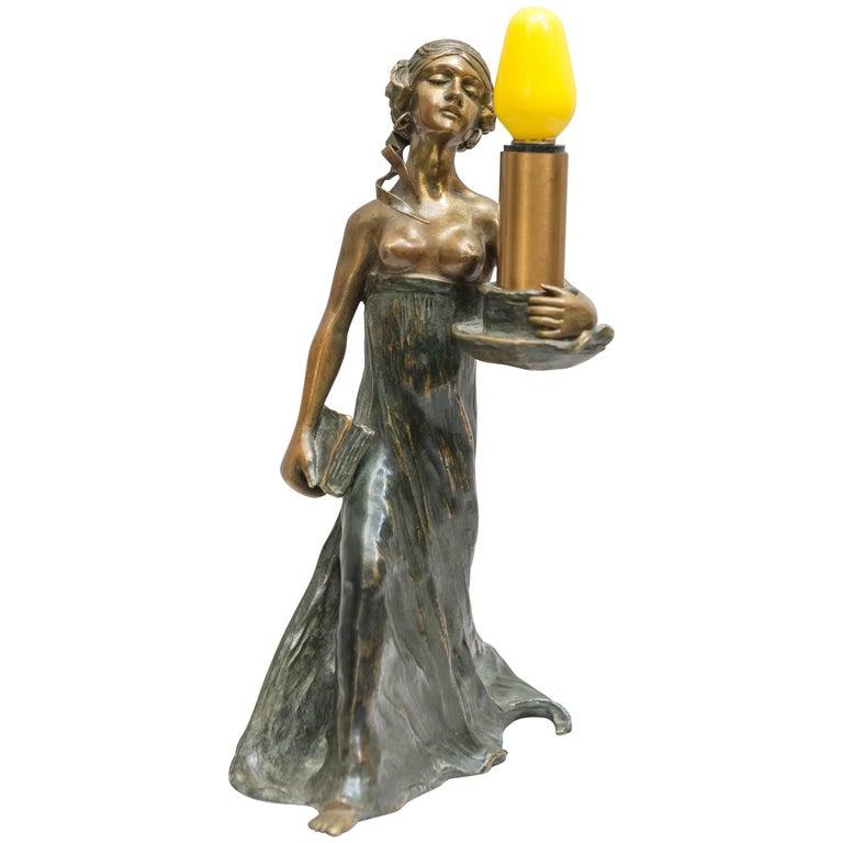 Austrian Bronze Art Nouveau Lamp, Gustav Gurschner For Sale