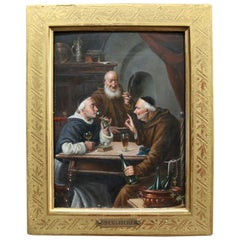 Austrian Oil on Board Genre Painting of Monks Signed C Schleicher, circa 1850