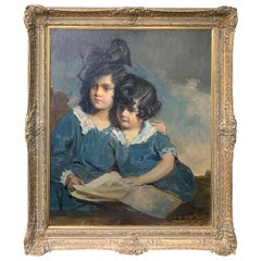 American Oil Painting of Sisters by John Quincy Adams, Signed & Dated, C.1923