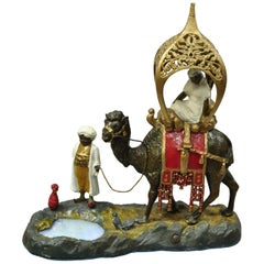 Austrian Orientalist Cold Painted Spelter Man and Camel Watering Hole Table Lamp