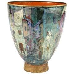 Austrian Orientalist Enameled Brass Vase