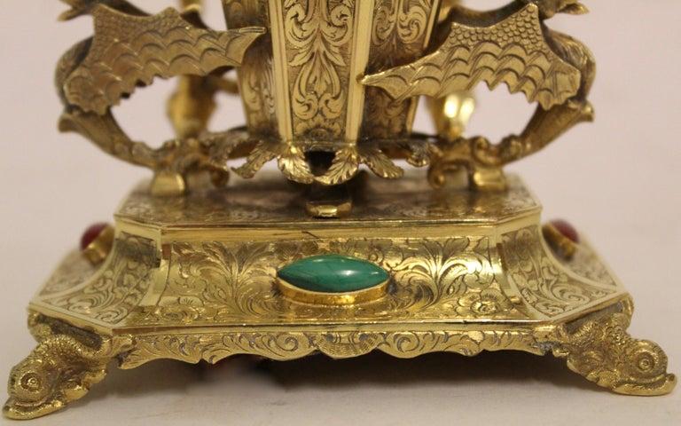 Austrian Ormolu Bronze and Hardstone Desk Set of 4 Pieces, circa 1850 For Sale 3