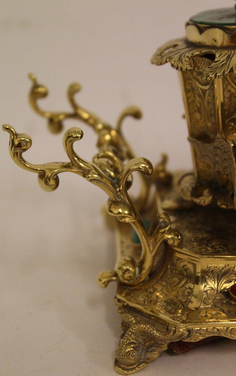 Austrian Ormolu Bronze and Hardstone Desk Set of 4 Pieces, circa 1850 For Sale 4
