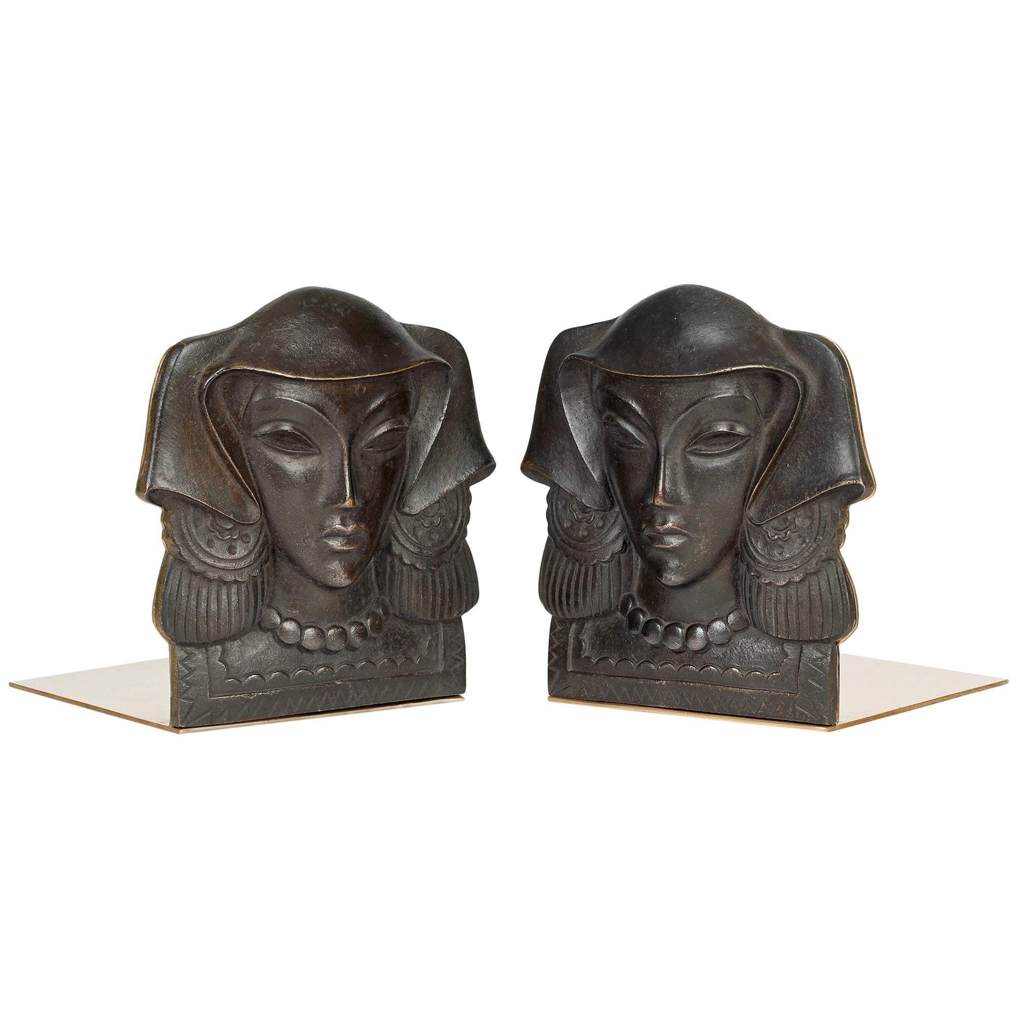 Austrian Pair Art Deco Mounted Bronze Maiden Head Bookends