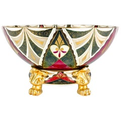 Austrian Porcelain Tribal Two Pieces Footed Centrepiece Bowl