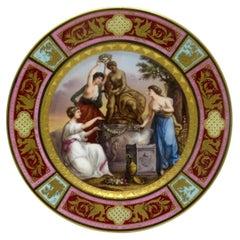 Austrian Royal Vienna Angelica Kauffman Porcelain Hand Painted Cabinet Plate 19c