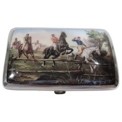 Austrian Silver and Enamel Cigarette Case with Horse Steeple Chase