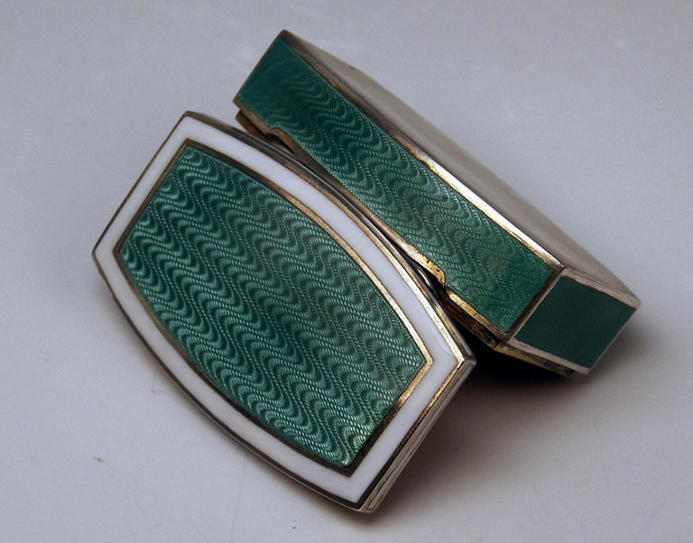 Austrian Finest Art Nouveau Enameled Box (gilded / gilt inside) made circa 1900  - oblong form type /  slightly curved walls - lidded hinge  (the box closes properly) - enameled  (white and green)  SILVER 800 master's mark existing:  GEORG ADAM