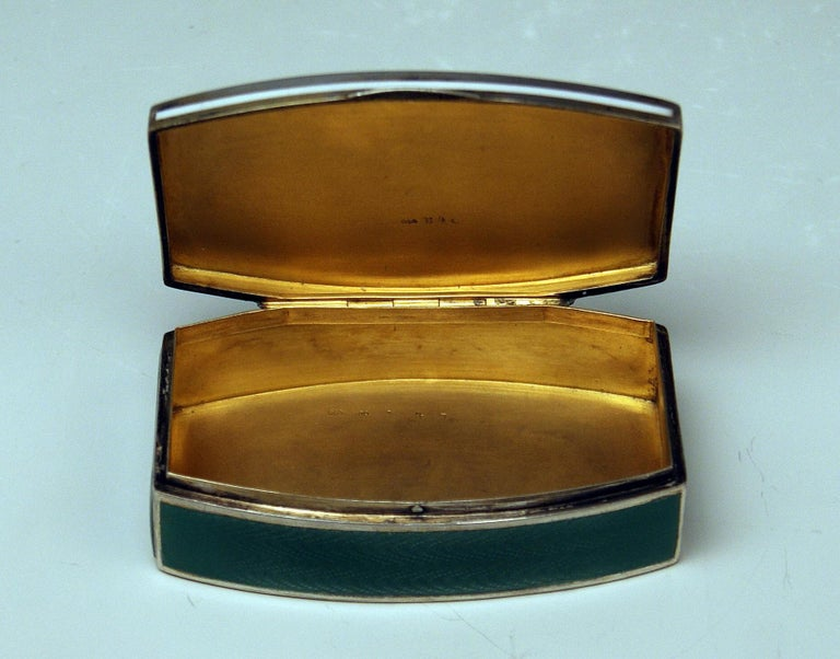 Sterling Silver Austrian Silver Art Nouveau Box White and Green Enameled Georg Adam Scheid 1900 For Sale