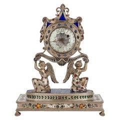 Austrian Silver, Enamel, and Lapis Lazuli Table Clock