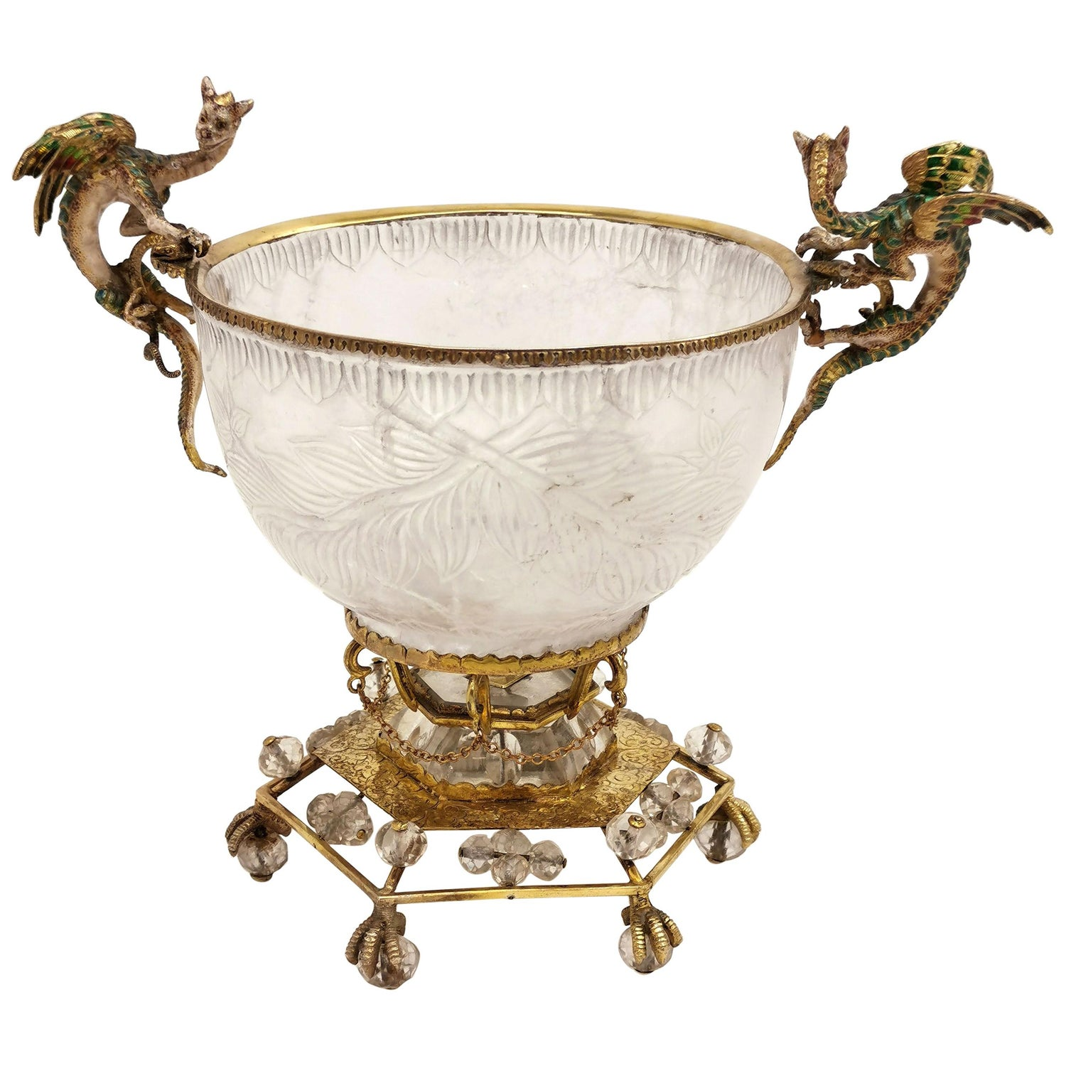 Austrian Silver Gilt, Rock Crystal and Enamel Comport Bowl, circa 1890