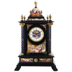 Austrian Silver Gilt, Wood and Enamel Clock Cabinet Table
