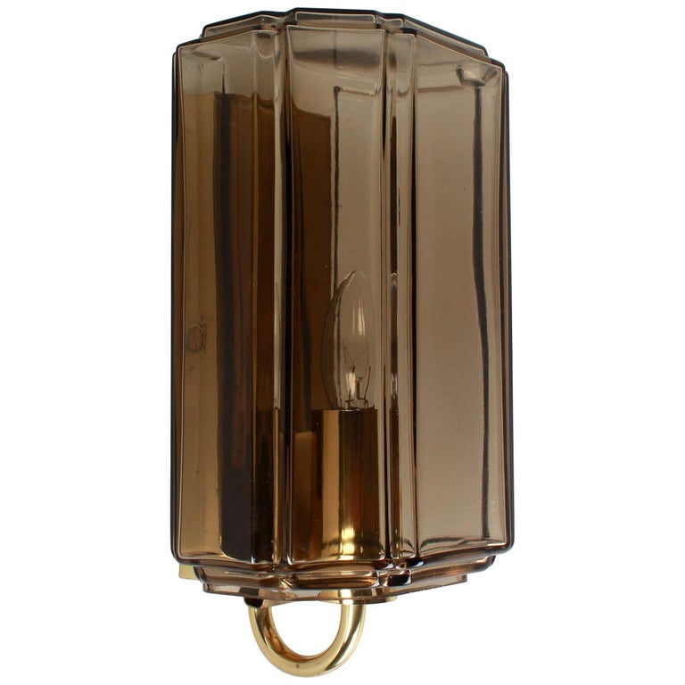 Austrian Smoked Brown Glass Sconces For Sale