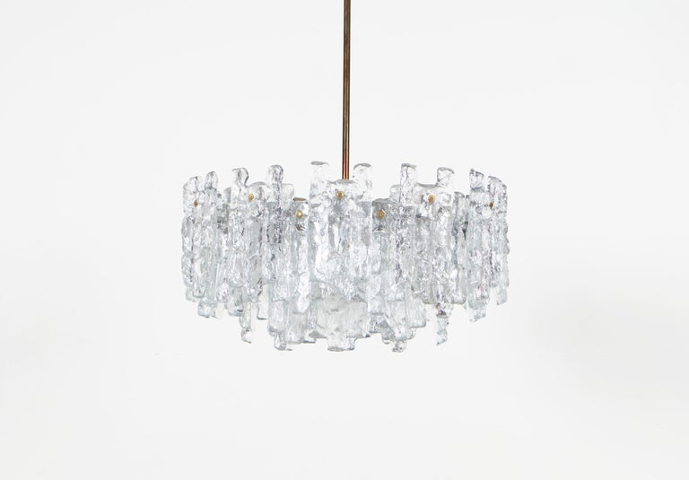 Beautiful Mid Century Kalmar Ice Glass Chandelier