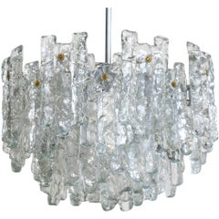 "Austrian ""Soria"" Ice Glass Chandelier by J.T Kalmar"