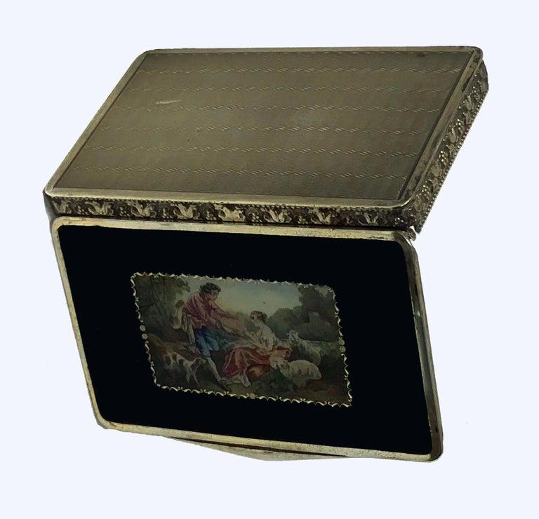 Women's or Men's Austrian Sterling Enamel Box, circa 1920 For Sale