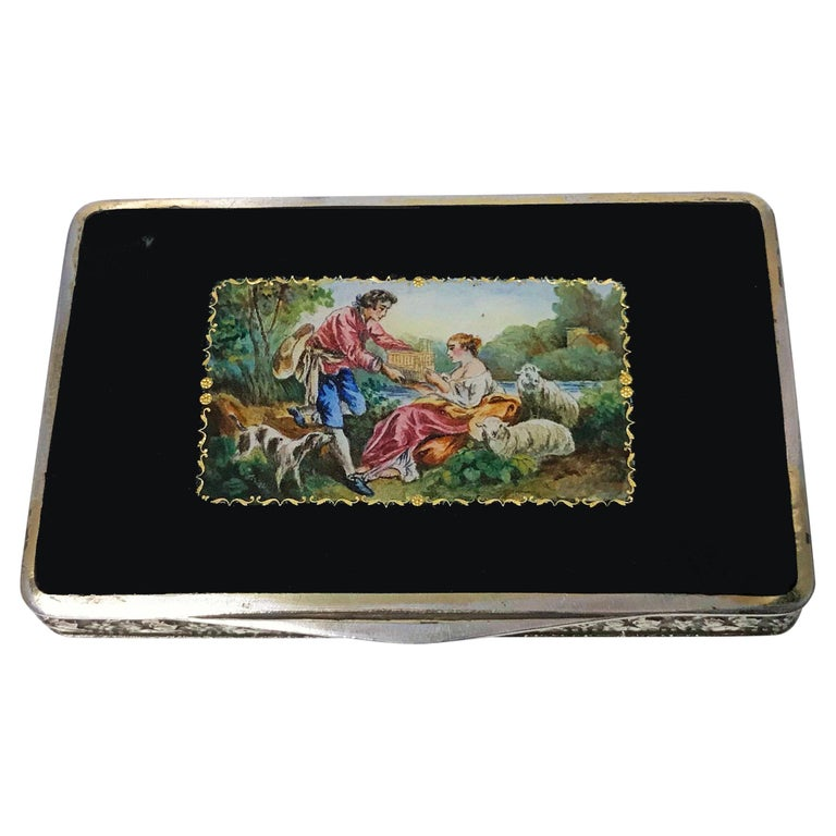 Austrian Sterling Enamel Box, circa 1920 For Sale