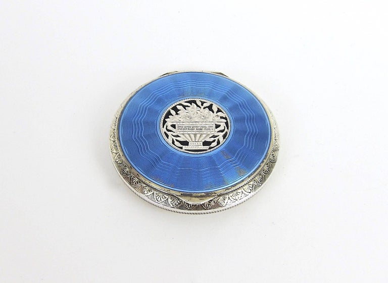 Antique Austrian Sterling Silver And Guilloche Enamel
