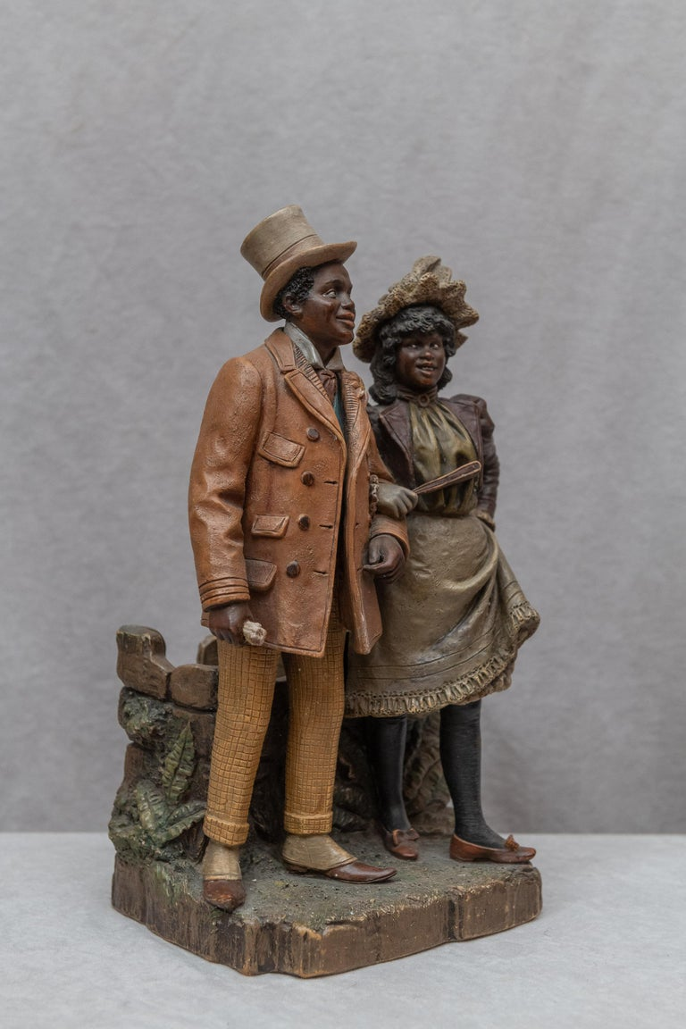 Terracotta is a wonderful material used to make some of the finest sculpture. As much as we love selling bronze sculpture we find that work can done even finer using terracotta. When you add the meticulous paint to the figures it makes the finished