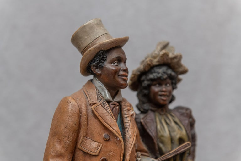 Victorian Austrian Terracotta Cigar Holder with Collectible Black Figures, Signed BB For Sale