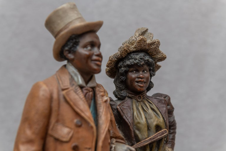 Cold-Painted Austrian Terracotta Cigar Holder with Collectible Black Figures, Signed BB For Sale