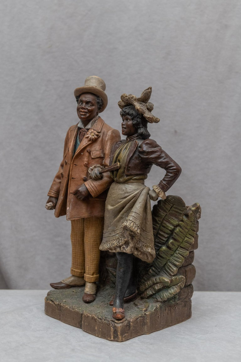 Austrian Terracotta Cigar Holder with Collectible Black Figures, Signed BB In Good Condition For Sale In San Francisco, CA