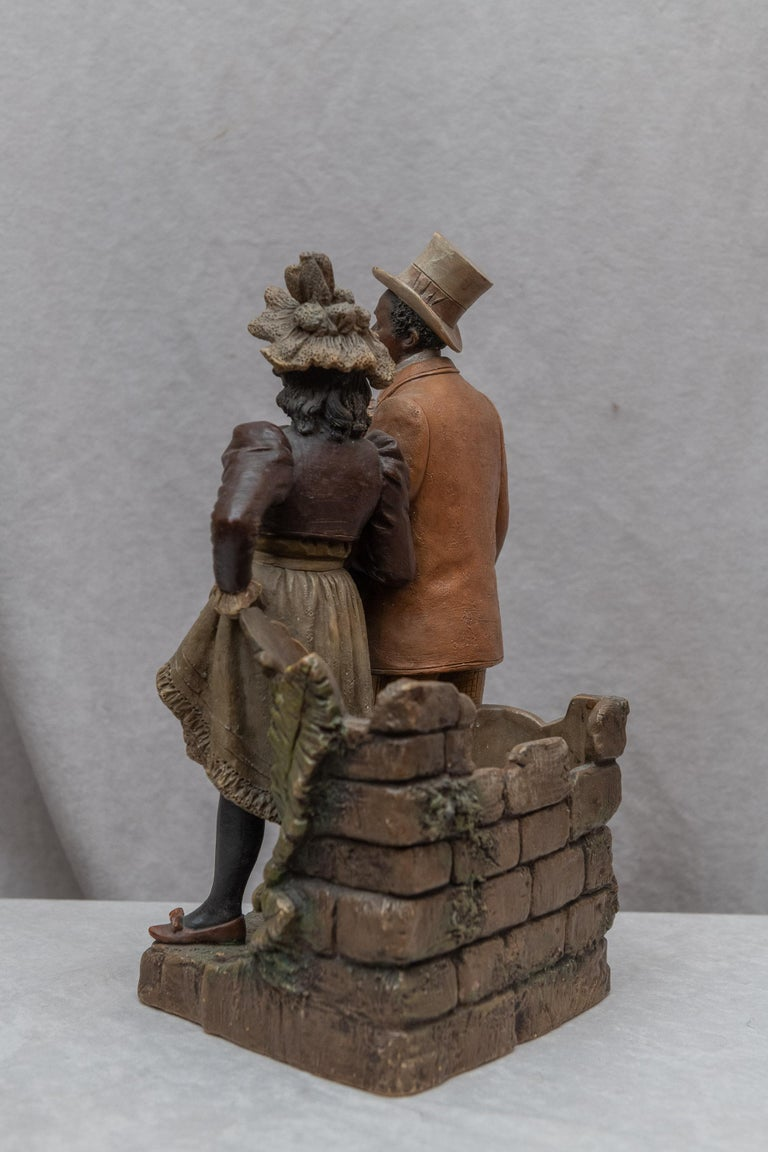 Early 20th Century Austrian Terracotta Cigar Holder with Collectible Black Figures, Signed BB For Sale