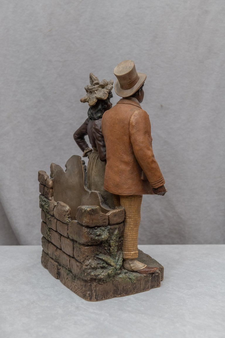 Austrian Terracotta Cigar Holder with Collectible Black Figures, Signed BB For Sale 1