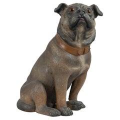 Austrian Terracotta Pug Dog, Hand Painted w/ Glass Eyes, ca. 1900