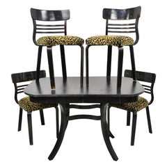 Austrian Thonet Bentwood Black Distressed Dining Set Table 4 Chairs, 5 Pieces