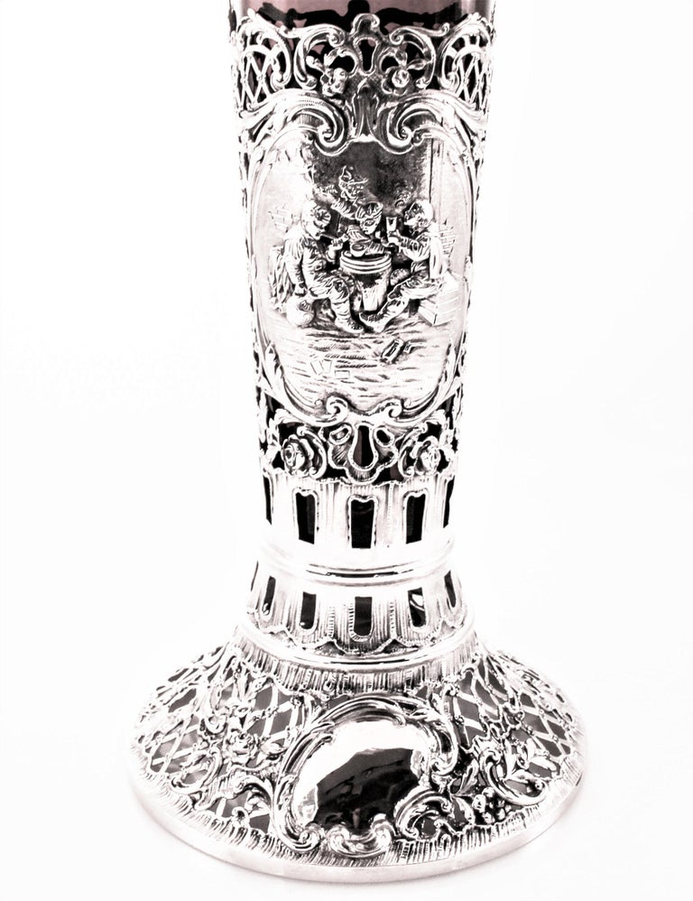 Austrian Vase with Ruby-Red Glass Liner For Sale at 1stdibs