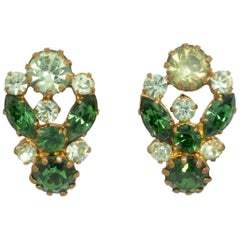 Austrian Vintage Emerald Crystal Clip On Earrings, Brass-tone